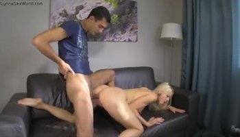 Carolina Sweets rides the big boner with her shaved pussy