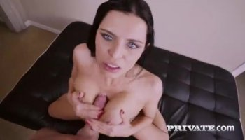 Young brunette deepthroats, gets fucked and swallows